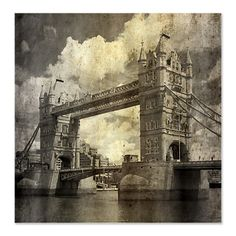 Vintage London Bridge Fabric Shower Curtain.  A perfect wallcovering...