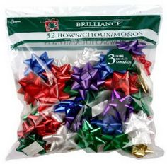 52 Count, High Gloss Traditional Colors Star & Diamond Bows In Poly Bag, 3 Assorted Sizes. Christmas Tree Bows, Xmas Ornaments, Xmas Tree, Gift Wrapping Bows, Diamond Bows, Bow Bag, Xmas Decorations, High Gloss, Count