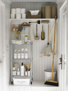 Closet organizing systems are sometimes expensive. Save money, time, and stress … Closet organizing systems are sometimes expensive. Save money, time, and stress with these quick and easy DIY closet organizers ideas. Organization Ideas For The Home Diy, Home Organisation, Kitchen Organization, Storage Ideas, Bedroom Organization, Kitchen Storage, Storage Organization, Cleaning Supply Storage, Organizing Cleaning Supplies