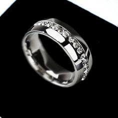 Anillo de bodas Para las mujeres de Joyería de Moda Oro Plata Cristal Cúbico Zirconia Eternidad Anillos de Acero Inoxidable 316L Envío Libre L419