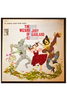 Wizard of OZ Judy Garland Framed Vintage Record Sleeve with Glitter Accent