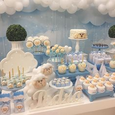 New Baby Announcement Balloons Shower Gifts Ideas Baby Party, Baby Shower Parties, Baby Shower Themes, Teddy Bear Baby Shower, Baby Boy Shower, Baby Shower Cakes, Aid Adha, Mesas Para Baby Shower, Baby Sheep