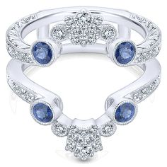 14k White Gold Victorian Style  Jacket Anniversary Band With  Diamond  With  And Sapphire.