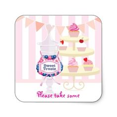 Candy Jar and Cupcakes Favor Sticker  for candy buffets and dessert tables labels by Firedropdesign.com