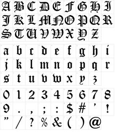 Calligraphy Fonts Alphabet, Cursive Alphabet, Tattoo Lettering Fonts, Hand Lettering, Fonts For Tattoos, Number Tattoo Fonts, Typography, Gothic Lettering, Gothic Fonts