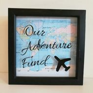 See your progress saving towards your next adventure. Can be personalised with names and the background map can be changed. #travel #travelling #savings #claireyfairymakes Money Saving Box, Money Box, Travel Fund, Money Pictures, Box Frames, Picture Frames, Travelling, Names, Map