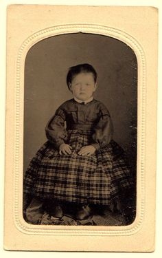 Vintage Civil War tintype photo young girl plaid dress, hand tinted cheeks!