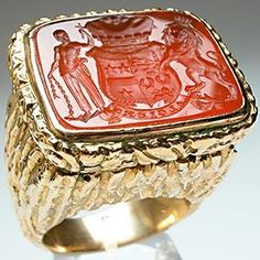 ANTIQUE CARNELIAN ALGIERS SEAL RING SOLID 14K GOLD