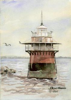 Lighthouse Plymouth Harbor Open Edition Print Of An Original Watercolor Fits X Frame