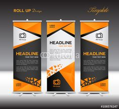 Vector: Orange and black Roll Up Banner vector template,roll up display,