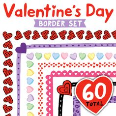 Clip Art: Valentine's Day Border Set - Borders for Personal and Commercial Use. Great for thank you notes and special days, too. Valentines Day Border, Valentines Day Hearts, Banners, Heart Border, Valentines Day Activities, Classroom Activities, Classroom Ideas, Tags, Clipart