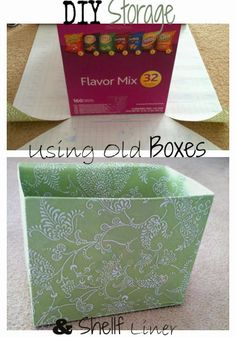 DIY storage boxes using old boxes and dollar store shelf liner