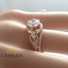 Unique Moissanite Engagement Ring Set 14K Rose by CamelliaJewelry