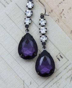 July giveaway item. Purple & Crystal Black gunmetal Earrings from Inspired by Elizabeth. Winner drawn 7/31/13.   Enter here: http://inspiredbyelizabeth.wordpress.com/2013/07/03/july-giveaway-from-inspired-by-elizabeth-2/