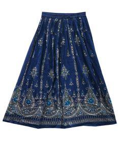 """Sequin Skirt Hand Work Blue Floral Design Rayon Bohemian Skirt 36"""""""