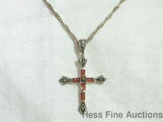 Vintage Look Marcasite Genuine Garnet Sterling Silver Christian Cross Necklace