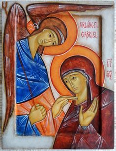 Annunciation by Emmanuel Cusnaider Byzantine Icons, Byzantine Art, Religious Icons, Religious Art, Baptism Of Christ, I Love You Mother, Religion Catolica, Best Icons, Holy Mary