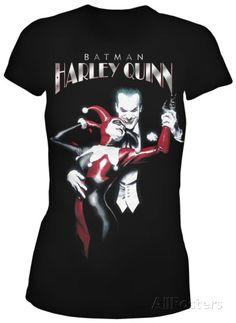 Juniors: Batman - Harley Quinn (silver foil) Camiseta na AllPosters.com.br