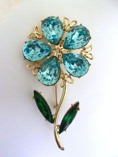 Aqua Blue Rhinestone Flower & Stem DODDS Brooch by RenaissanceFair