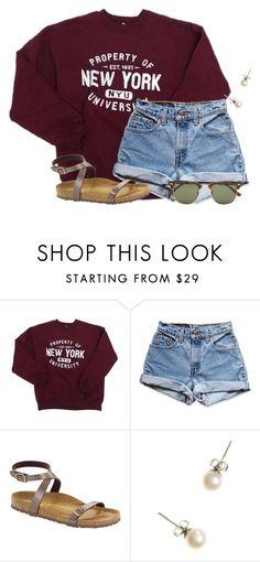 """I hate chemistry homework so much"" by flroasburn ❤ liked on Polyvore featuring Levi's, Birkenstock, J.Crew and Ray-Ban"