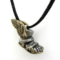 """Small Sterling Silver Winged Foot of Mercury 1//2/"""" Pendant Chain Necklace"""