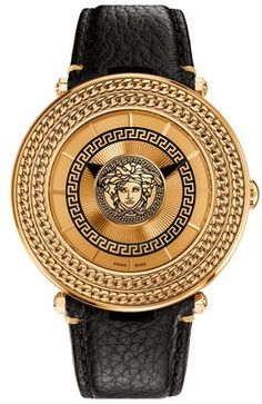 versace watch men s pre owned gianni signature gold medusa versace v metal icon round leather strap watch