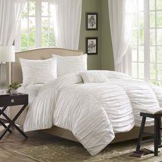 Beautiful Soft Modern Ruffle Texture Pleat Ruched White Comforter Set Pillows | eBay