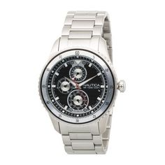 Nautica Men's N18587G Multi-Function NCS 200 Watch NAUTICA. $159.99. Durable mineral crystal. Black dial with  white markers; luminous hands and markers. Silver bracelet and case; multifunction movement with  date window. Quality and precise quartz movement. Water-resistant to 330 feet (100 M)