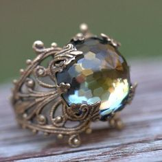 ❥ Swarovski ring~ vintage, faceted, rustic green brown celadon {awesome pic}