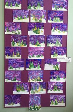 pin-by-jennifer-nodes-on-christmas-art-lessons. Classroom Art Projects, School Art Projects, Art Classroom, Winter Art Projects, Art Projects For Adults, Art 2nd Grade, Arte Elemental, Classe D'art, Art Lessons Elementary
