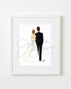Semi-Custom Bride & Groom Wedding Fashion Illustration Art Print More