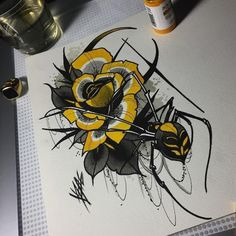 Spider Drawing, Spider Art, Spider Tattoo, Rose Tattoos, Flower Tattoos, Body Art Tattoos, Blue Drawings, Colorful Drawings, Demon Tattoo