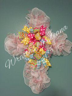 Easter deco mesh cross, white deco mesh cross, Easter cross, #99 Wreaths by Ileana $75.00