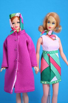 Seriously chic. Braniff flight attendant Barbies in genuine vintage Pucci.