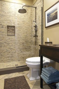 LOVE the shower tile! It's supposed to be Rain Pattern by Walker Zanger, but this looks a little more gray than pics I have seen of Rain Pattern. Either way, LOVE the mix of stone and glass tiles!