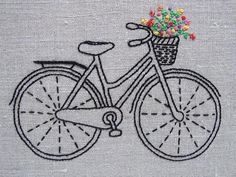 Vintage Bicycle Embroidery Kit by Sarah Milligan of iHeartStitchArt | Red Thread Studio #vintageembroidery