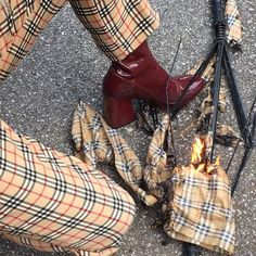 Plaid yellow pants + red patent boots
