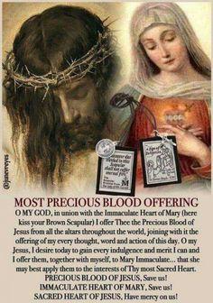Most precious Blood Jesus offering Faith Prayer, God Prayer, Power Of Prayer, Prayer Cards, Rosary Prayer, Prayer Quotes, Catholic Religion, Catholic Quotes, Catholic Prayers Daily