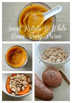 Potato and White Bean puree is an easy and delicious homemade baby food recipe your baby 6 months and older will love.Sweet Potato and White Bean puree is an easy and delicious homemade baby food recipe your baby 6 months and older will love. Baby Puree Recipes, Pureed Food Recipes, Baby Food Recipes, Veggie Recipes, Cheap Recipes, Baby Food Puree, Sweet Potato Puree Baby, Baby Bullet Recipes, Protein Recipes