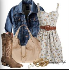 Cute dress outfit! More of spring dress, but without the jean jacket it could be summer dress.