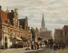 Cornelis Springer:  Alkmaar, met het Huis van Achten (Provenhuis van Johan van Nordingen) en de Waagtoren op de achtergrond, 1871