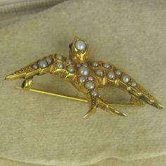 Victorian 18ct Pearls Swallow Brooch