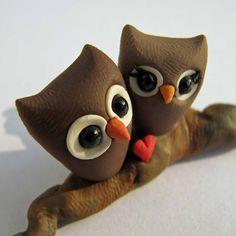 polymer clay owls