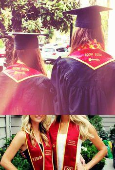 "Pi Phi graduation shawls - love the ""boom boom"" on the back! #piphi #pibetaphi"