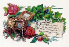 Victorian Die-cut Scrap of Jewelry Box - Flowers & Verse - circa 1890