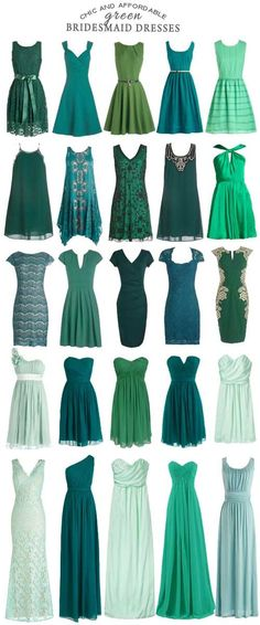 For those interested in filling their wedding with bridesmaid dresses in shades of green - check out these affordable options!