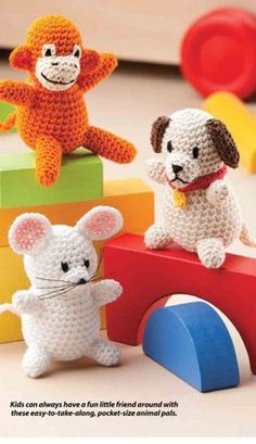 W269 Crochet PATTERN ONLY Amigurumi Animal Friends Mouse Monkey Dog