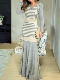 Material: Polyester Silhouette: Mermaid Dress Length: Floor-Length Sleeve Length: Long Sleeve Sleeve Type: Regular Neckline:... Fashion For Petite Women, Womens Fashion, All Black Looks, Fall Capsule Wardrobe, Stripes Fashion, Types Of Sleeves, Dress Up, Cute Outfits, Two Piece Skirt Set