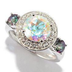 "Gem Treasures® ""Kellie Anne"" Sterling Silver 3.05ctw Multi Color Topaz Ring"
