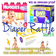 Image I created for my baby shower - diaper raffle. I included the sizes & brands that I like. Makes it easier for guests.